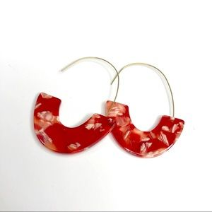 Fashion Earrings Semicircle Hooks Red and White